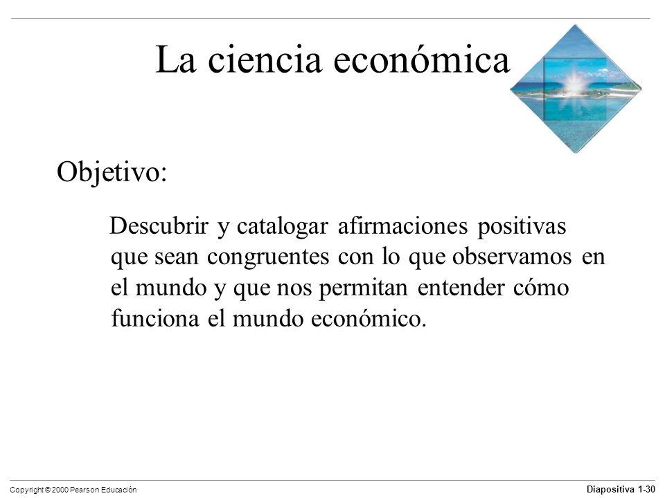 Diapositiva 1-30 Copyright © 2000 Pearson Educación La ciencia económica Objetivo: Descubrir y catalogar afirmaciones positivas que sean congruentes c