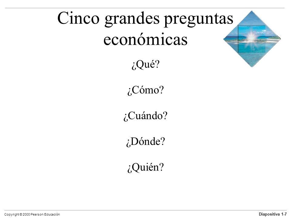 Diapositiva 1-7 Copyright © 2000 Pearson Educación Cinco grandes preguntas económicas ¿Qué? ¿Cómo? ¿Cuándo? ¿Dónde? ¿Quién?