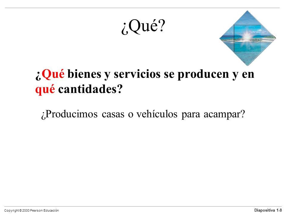 Diapositiva 1-8 Copyright © 2000 Pearson Educación ¿Qué? ¿Qué bienes y servicios se producen y en qué cantidades? ¿Producimos casas o vehículos para a
