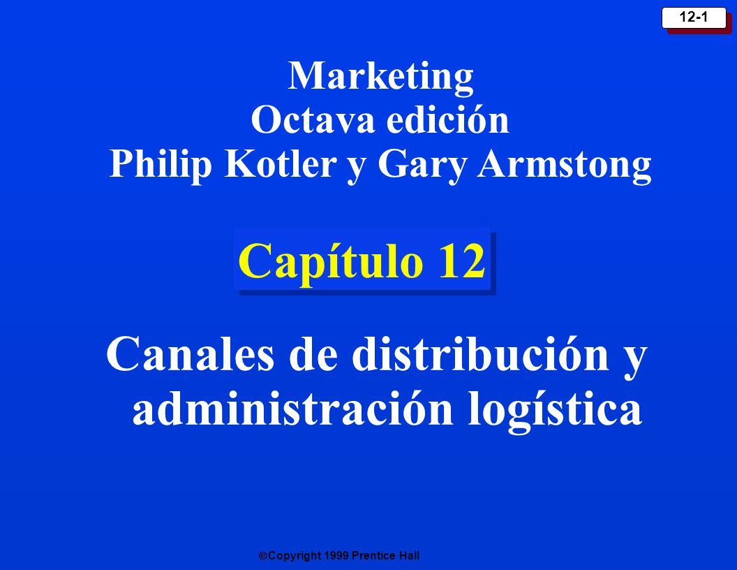 Copyright 1999 Prentice Hall 12-12 Naturaleza e importancia de la logística de marketing Implica hacer llegar el producto correcto a los clientes correctos en el lugar correcto y en el momento correcto.