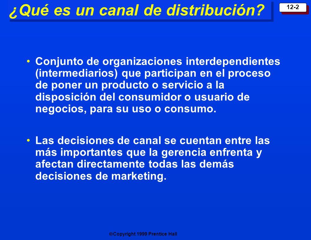 Copyright 1999 Prentice Hall 12-3 ¿Por qué se usan intermediarios de marketing.