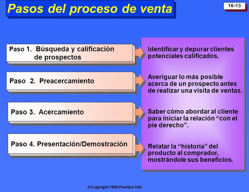 Copyright 1999 Prentice Hall 16-13 Paso 1. Búsqueda y calificación de prospectos Paso 2. Prea cercamiento Paso 3. A cercamiento Paso 4. Presenta ción