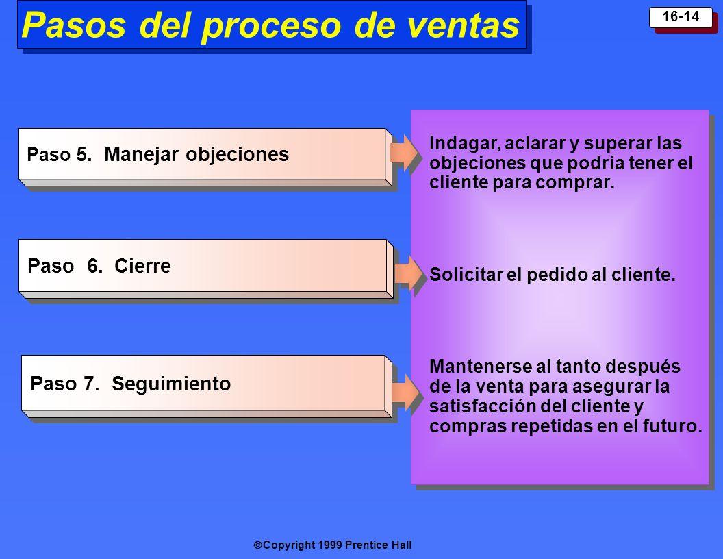 Copyright 1999 Prentice Hall 16-14 Paso 5. Manejar objeciones Paso 6. C ierre Paso 7. Seguimiento Indagar, aclarar y superar las objeciones que podría