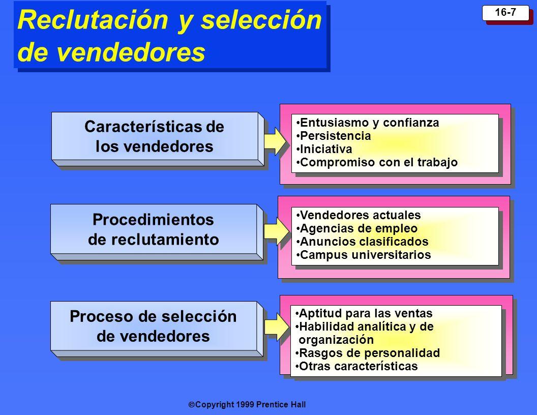Copyright 1999 Prentice Hall 16-7 Características de los vendedores Proced imientos de reclutamiento Proceso de selección de vendedores Entusiasmo y c