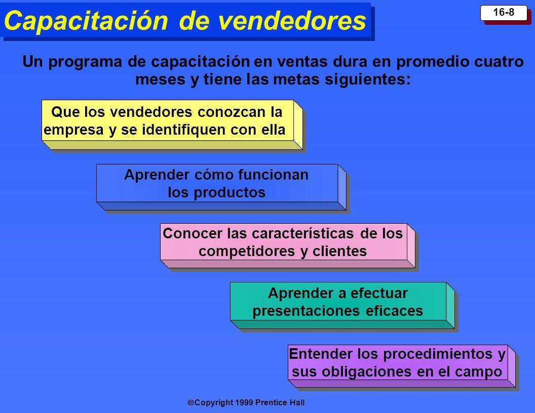 Copyright 1999 Prentice Hall 16-8 Capacitación de vendedores Que los vendedores conozcan la empresa y se identifiquen con ella Aprender cómo funcionan