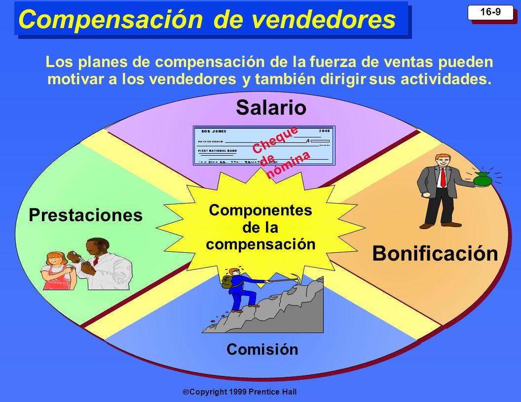 Copyright 1999 Prentice Hall 16-9 Compensación de vendedores Componentes de la compensación Cheque de nómina Los planes de compensación de la fuerza d