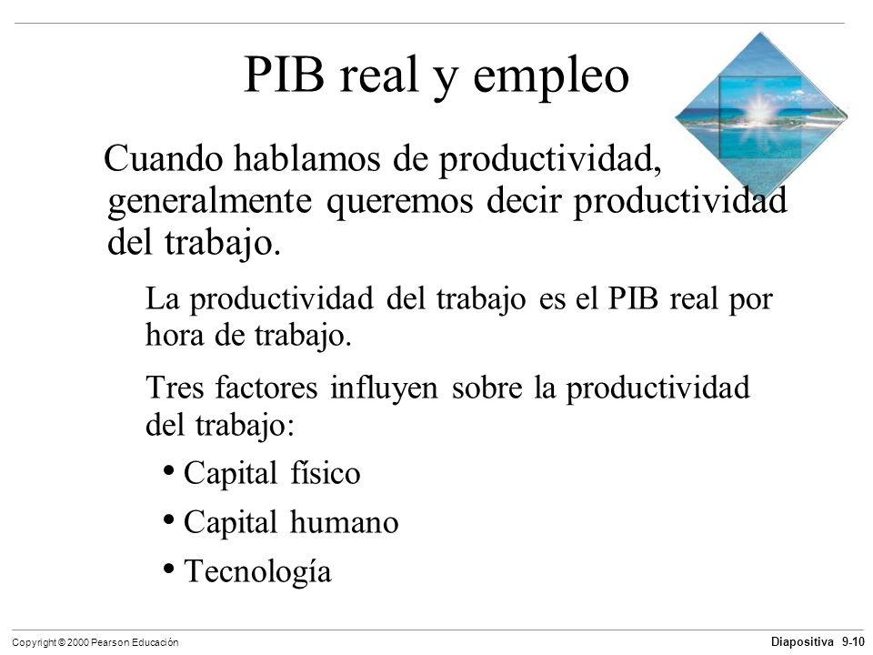 Diapositiva 9-10 Copyright © 2000 Pearson Educación PIB real y empleo Cuando hablamos de productividad, generalmente queremos decir productividad del