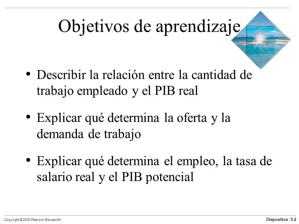 Diapositiva 9-2 Copyright © 2000 Pearson Educación Objetivos de aprendizaje Describir la relación entre la cantidad de trabajo empleado y el PIB real