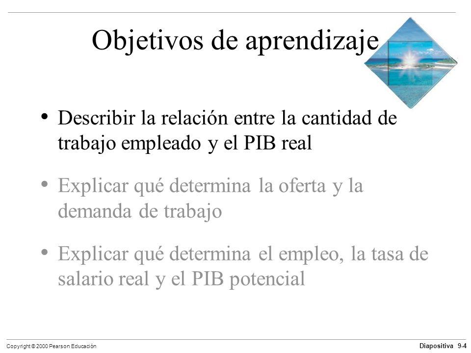 Diapositiva 9-4 Copyright © 2000 Pearson Educación Objetivos de aprendizaje Describir la relación entre la cantidad de trabajo empleado y el PIB real