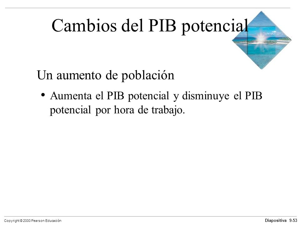 Diapositiva 9-53 Copyright © 2000 Pearson Educación Cambios del PIB potencial Un aumento de población Aumenta el PIB potencial y disminuye el PIB pote