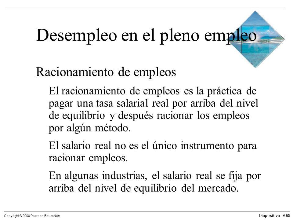 Diapositiva 9-69 Copyright © 2000 Pearson Educación Desempleo en el pleno empleo Racionamiento de empleos El racionamiento de empleos es la práctica d