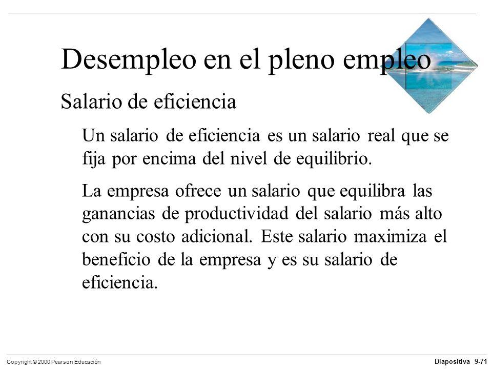 Diapositiva 9-71 Copyright © 2000 Pearson Educación Desempleo en el pleno empleo Salario de eficiencia Un salario de eficiencia es un salario real que