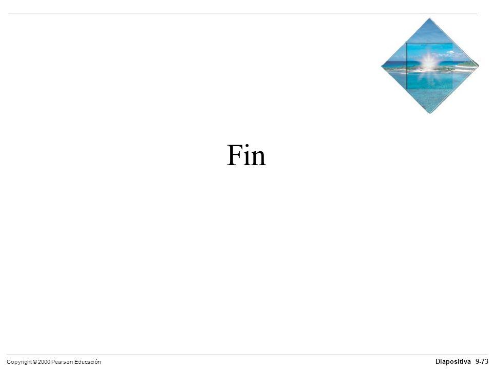 Diapositiva 9-73 Copyright © 2000 Pearson Educación Fin