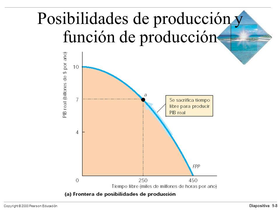 Diapositiva 9-8 Copyright © 2000 Pearson Educación Posibilidades de producción y función de producción