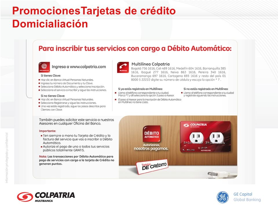 PromocionesTarjetas de crédito Domicialiación
