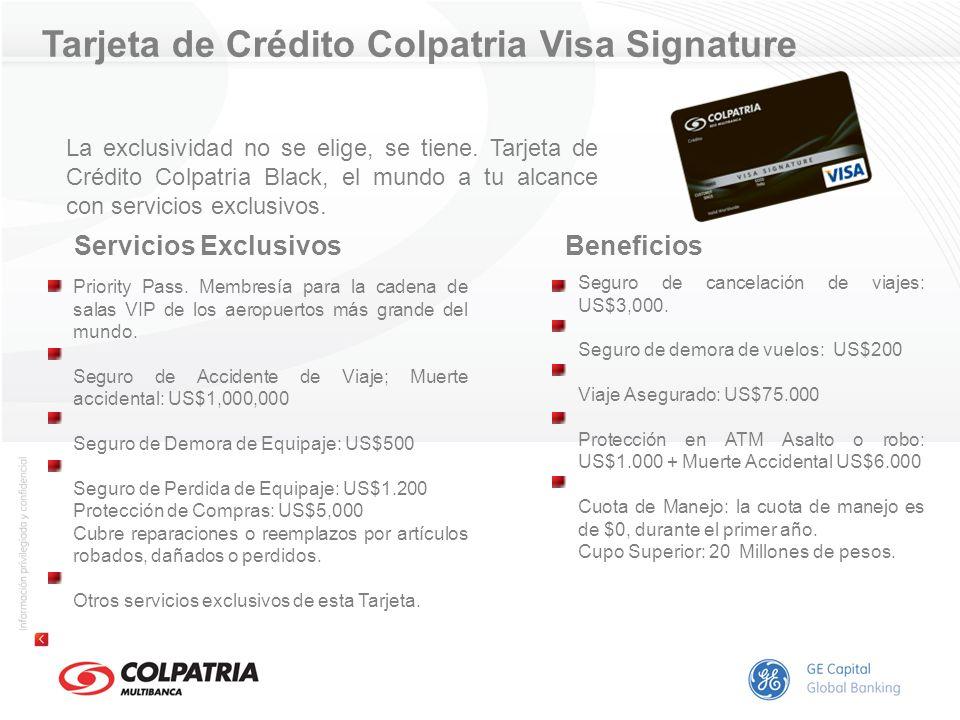 Beneficios Seguro de cancelación de viajes: US$3,000. Seguro de demora de vuelos: US$200 Viaje Asegurado: US$75.000 Protección en ATM Asalto o robo: U