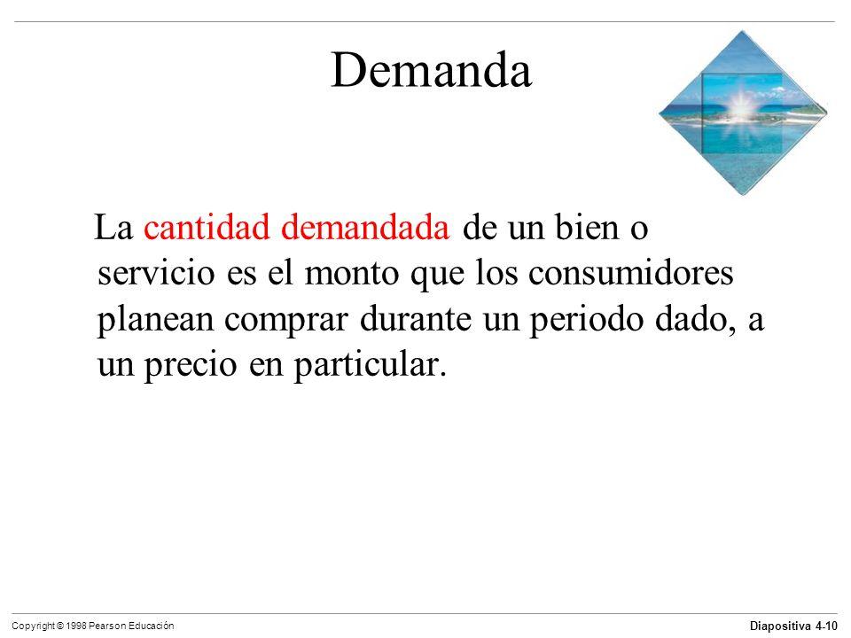 Diapositiva 4-10 Copyright © 1998 Pearson Educación Demanda La cantidad demandada de un bien o servicio es el monto que los consumidores planean compr