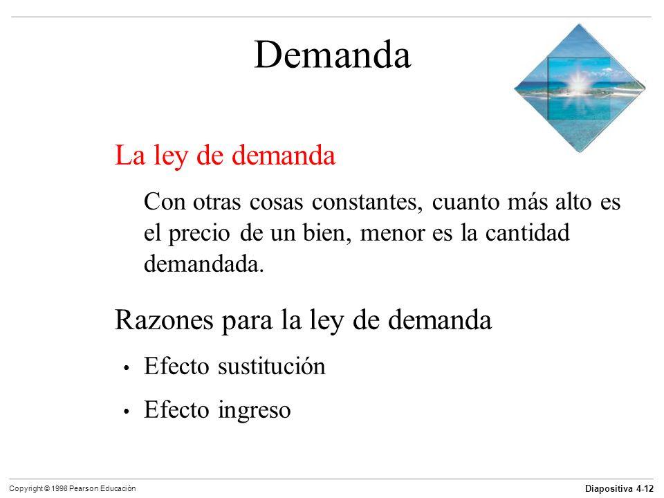 Diapositiva 4-12 Copyright © 1998 Pearson Educación Demanda La ley de demanda Con otras cosas constantes, cuanto más alto es el precio de un bien, men
