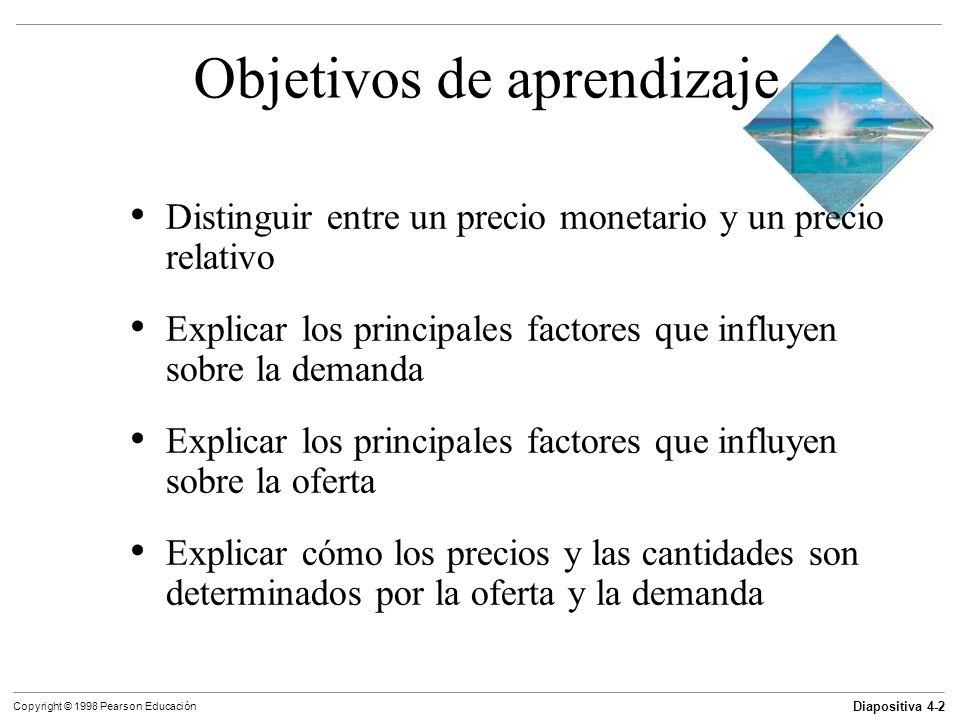Diapositiva 4-3 Copyright © 1998 Pearson Educación Objetivos de aprendizaje Explicar por qué algunos precios bajan, algunos suben y algunos fluctúan Usar la oferta y la demanda para predecir cambios de precios