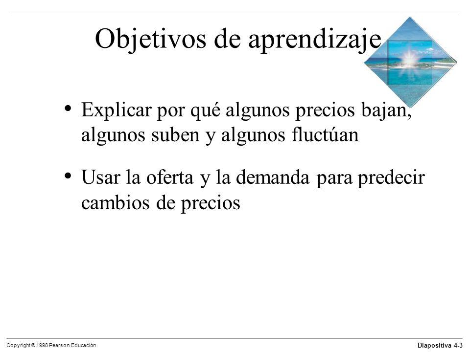 Diapositiva 4-4 Copyright © 1998 Pearson Educación Objetivos de aprendizaje Distinguir entre un precio monetario y un precio relativo Explicar los principales factores que influyen sobre la demanda Explicar los principales factores que influyen sobre la oferta Explicar cómo los precios y las cantidades son determinados por la oferta y la demanda
