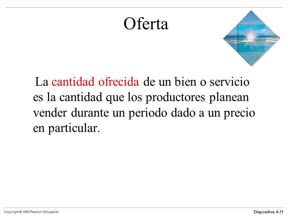 Diapositiva 4-31 Copyright © 1998 Pearson Educación Oferta La cantidad ofrecida de un bien o servicio es la cantidad que los productores planean vende