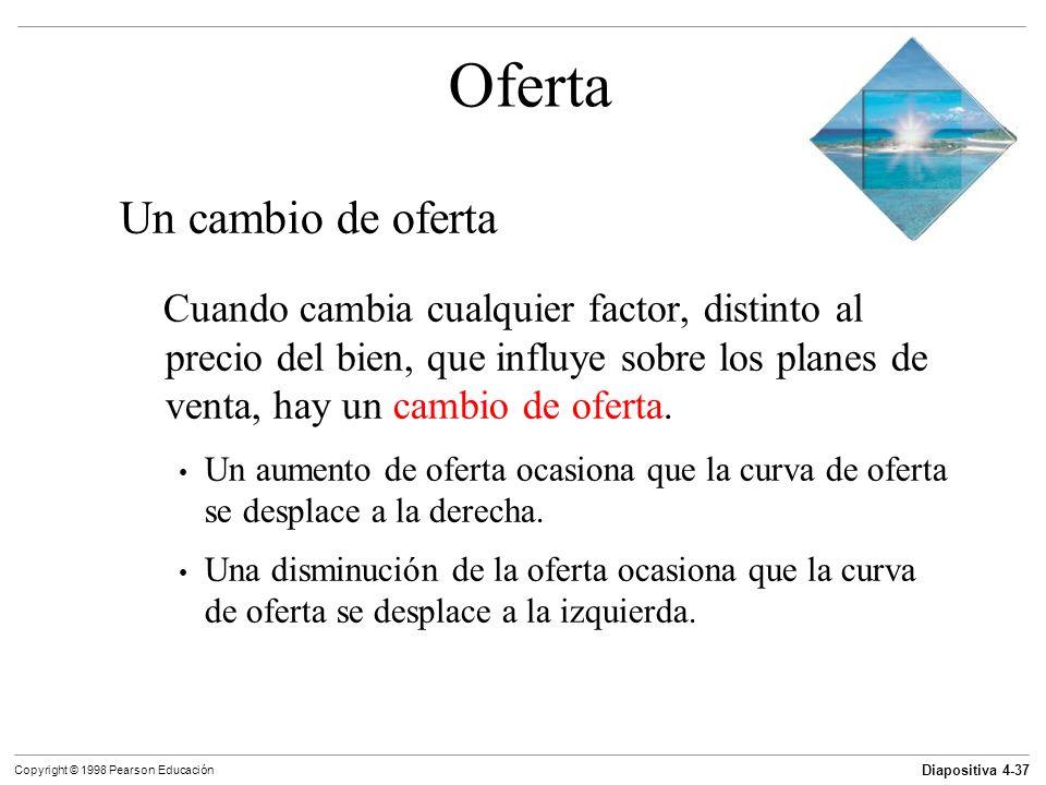 Diapositiva 4-37 Copyright © 1998 Pearson Educación Oferta Un cambio de oferta Cuando cambia cualquier factor, distinto al precio del bien, que influy