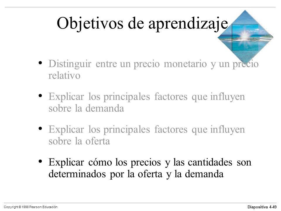Diapositiva 4-49 Copyright © 1998 Pearson Educación Objetivos de aprendizaje Distinguir entre un precio monetario y un precio relativo Explicar los pr