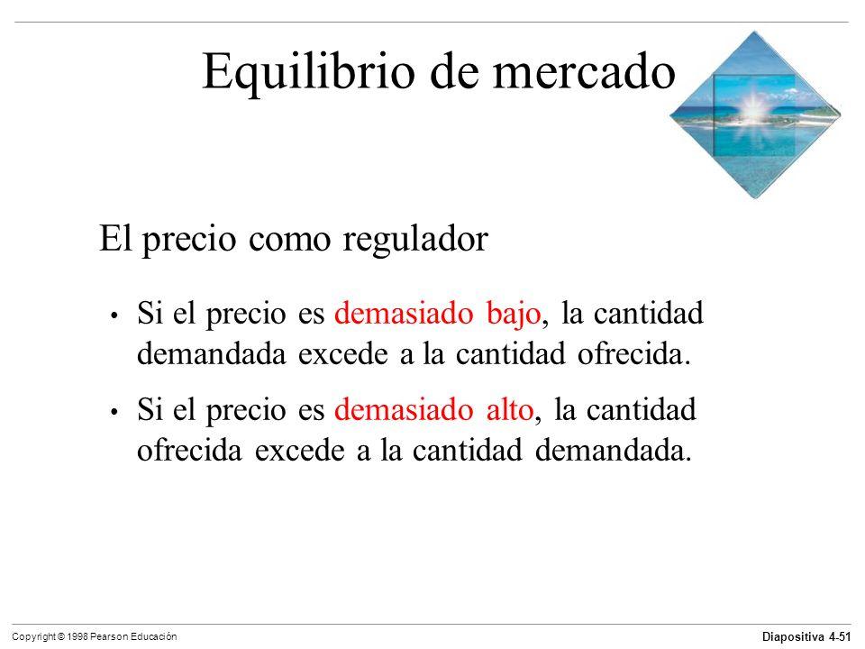 Diapositiva 4-51 Copyright © 1998 Pearson Educación Equilibrio de mercado El precio como regulador Si el precio es demasiado bajo, la cantidad demanda
