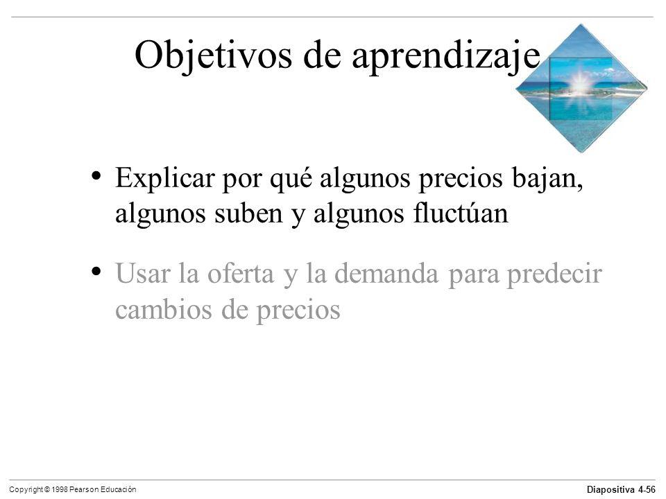 Diapositiva 4-56 Copyright © 1998 Pearson Educación Objetivos de aprendizaje Explicar por qué algunos precios bajan, algunos suben y algunos fluctúan