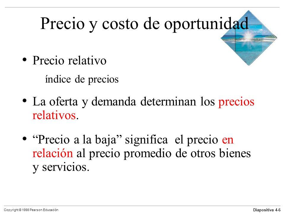 Diapositiva 4-27 Copyright © 1998 Pearson Educación Un cambio de la cantidad demandada en oposición a un cambio de la demanda Un movimiento a lo largo de la curva de demanda, resultado de un cambio de precio, muestra un cambio de la cantidad demandada.