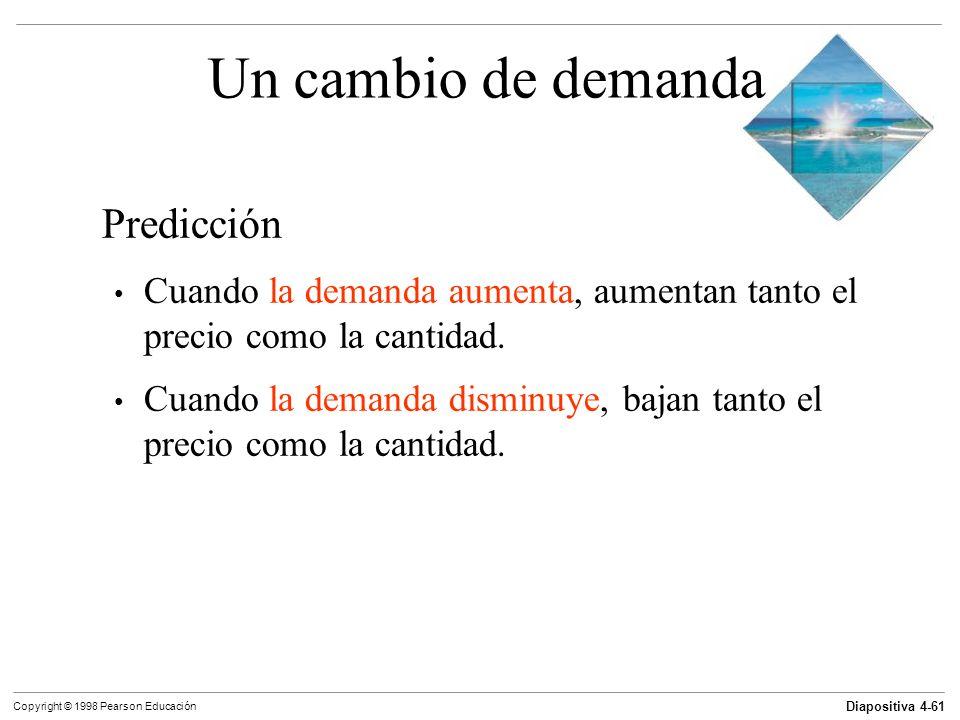 Diapositiva 4-61 Copyright © 1998 Pearson Educación Un cambio de demanda Predicción Cuando la demanda aumenta, aumentan tanto el precio como la cantid