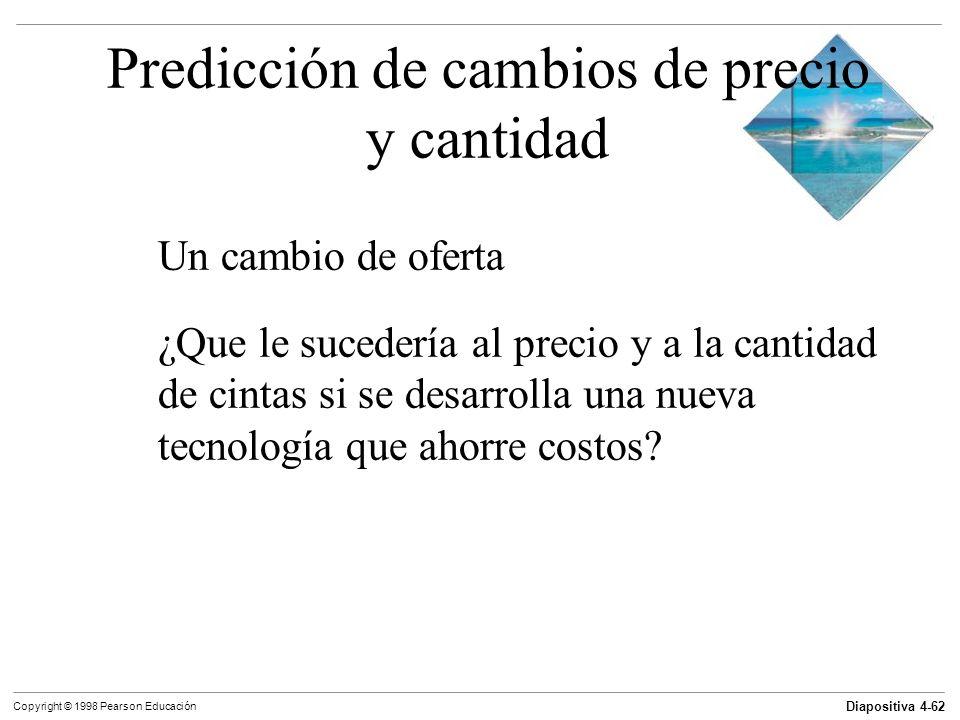 Diapositiva 4-62 Copyright © 1998 Pearson Educación Predicción de cambios de precio y cantidad Un cambio de oferta ¿Que le sucedería al precio y a la