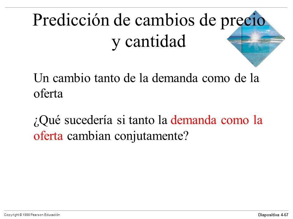 Diapositiva 4-67 Copyright © 1998 Pearson Educación Predicción de cambios de precio y cantidad Un cambio tanto de la demanda como de la oferta ¿Qué su