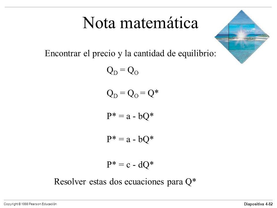 Diapositiva 4-82 Copyright © 1998 Pearson Educación Nota matemática Encontrar el precio y la cantidad de equilibrio: Q D = Q O Q D = Q O = Q* P* = a -