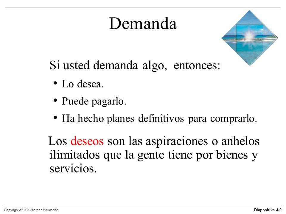 Diapositiva 4-9 Copyright © 1998 Pearson Educación Demanda Si usted demanda algo, entonces: Lo desea. Puede pagarlo. Ha hecho planes definitivos para