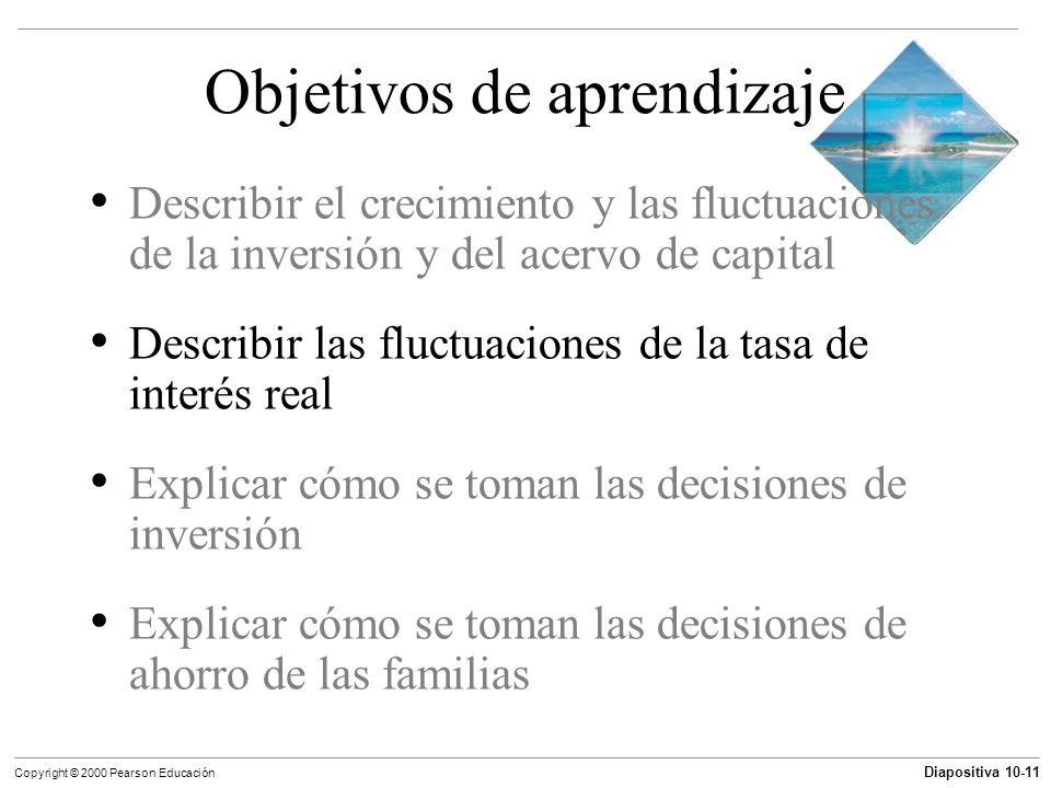 Diapositiva 10-11 Copyright © 2000 Pearson Educación Objetivos de aprendizaje Describir el crecimiento y las fluctuaciones de la inversión y del acerv