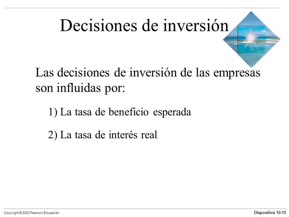 Diapositiva 10-15 Copyright © 2000 Pearson Educación Decisiones de inversión Las decisiones de inversión de las empresas son influidas por: 1) La tasa