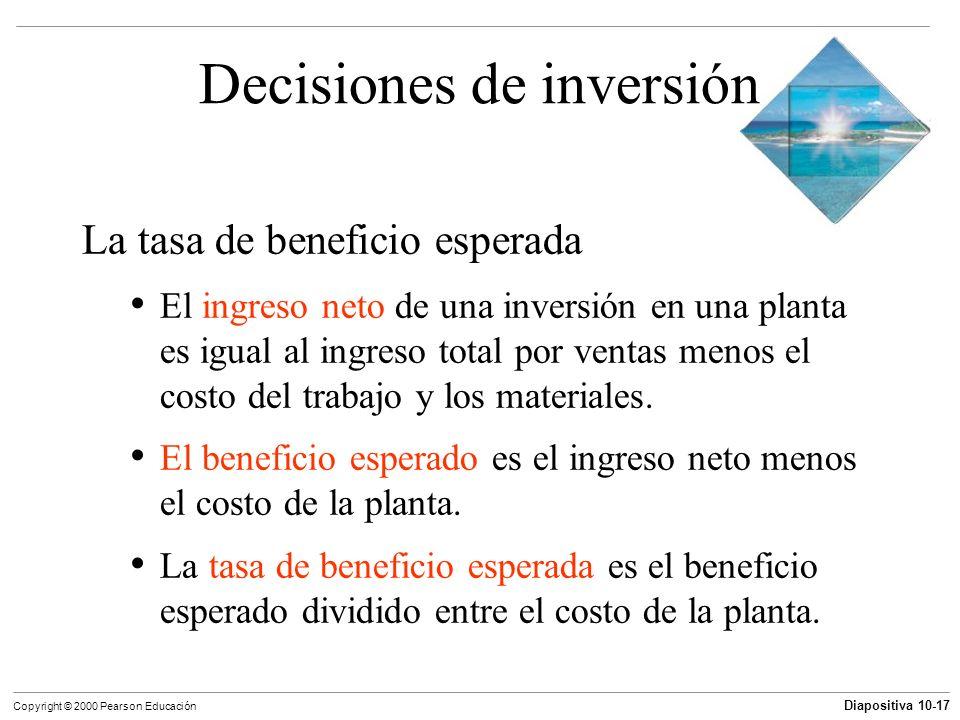 Diapositiva 10-17 Copyright © 2000 Pearson Educación Decisiones de inversión La tasa de beneficio esperada El ingreso neto de una inversión en una pla