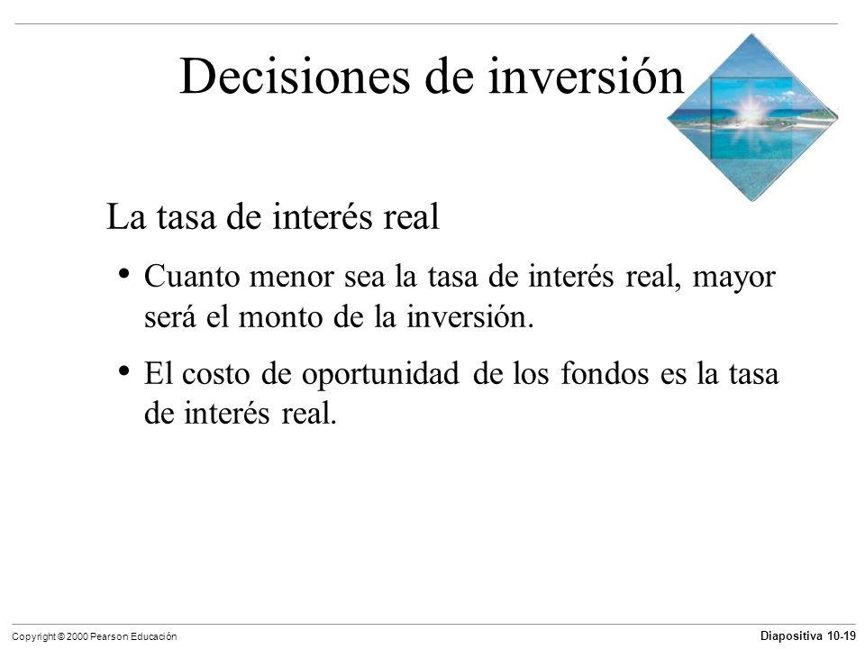 Diapositiva 10-19 Copyright © 2000 Pearson Educación Decisiones de inversión La tasa de interés real Cuanto menor sea la tasa de interés real, mayor s