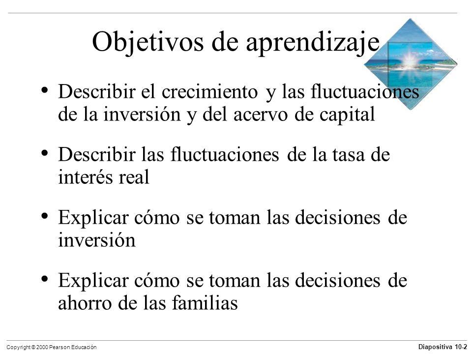 Diapositiva 10-2 Copyright © 2000 Pearson Educación Objetivos de aprendizaje Describir el crecimiento y las fluctuaciones de la inversión y del acervo