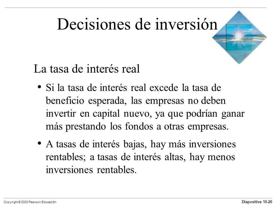 Diapositiva 10-20 Copyright © 2000 Pearson Educación Decisiones de inversión La tasa de interés real Si la tasa de interés real excede la tasa de bene