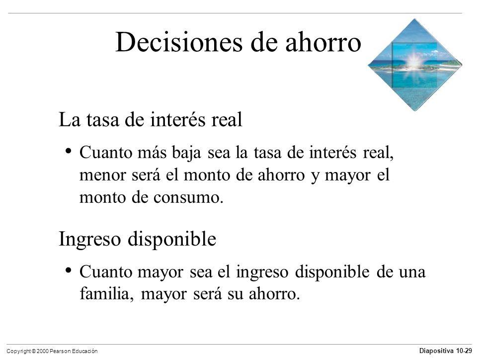 Diapositiva 10-29 Copyright © 2000 Pearson Educación Decisiones de ahorro La tasa de interés real Cuanto más baja sea la tasa de interés real, menor s