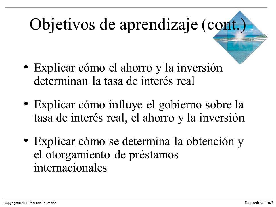 Diapositiva 10-3 Copyright © 2000 Pearson Educación Objetivos de aprendizaje (cont.) Explicar cómo el ahorro y la inversión determinan la tasa de inte