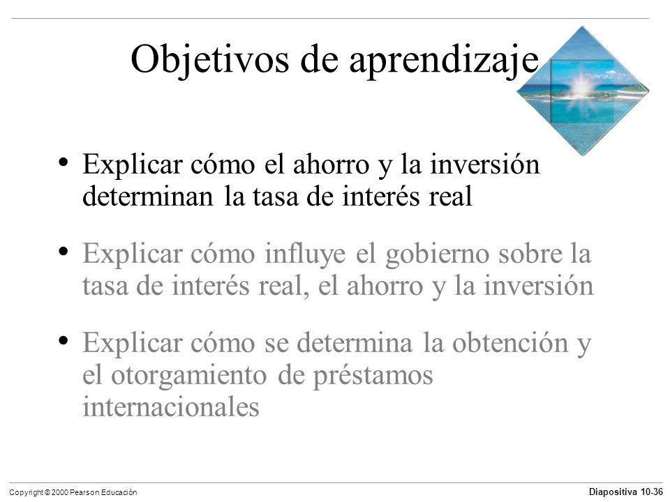 Diapositiva 10-36 Copyright © 2000 Pearson Educación Objetivos de aprendizaje Explicar cómo el ahorro y la inversión determinan la tasa de interés rea