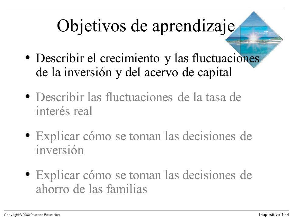 Diapositiva 10-4 Copyright © 2000 Pearson Educación Objetivos de aprendizaje Describir el crecimiento y las fluctuaciones de la inversión y del acervo