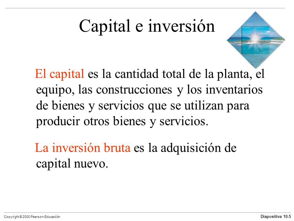 Diapositiva 10-5 Copyright © 2000 Pearson Educación Capital e inversión El capital es la cantidad total de la planta, el equipo, las construcciones y