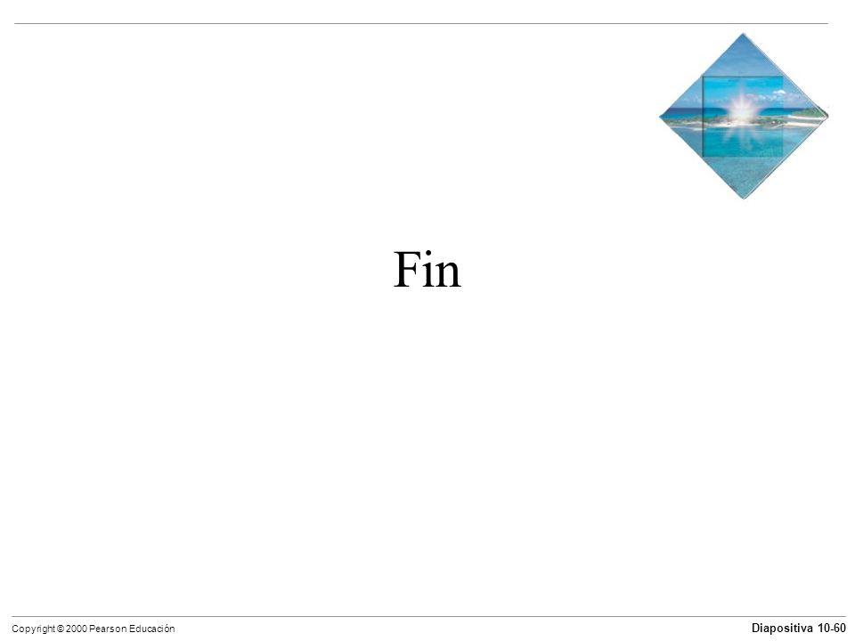 Diapositiva 10-60 Copyright © 2000 Pearson Educación Fin