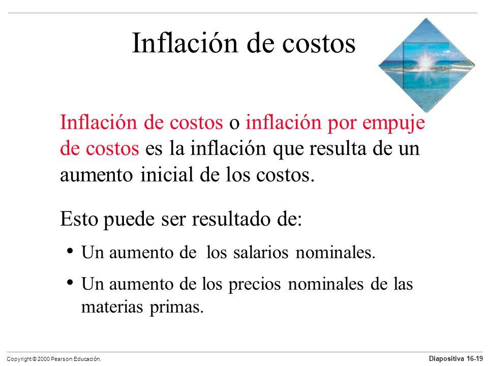 Diapositiva 16-19 Copyright © 2000 Pearson Educación. Inflación de costos Inflación de costos o inflación por empuje de costos es la inflación que res