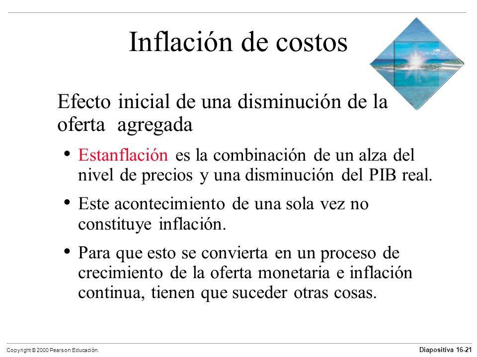 Diapositiva 16-21 Copyright © 2000 Pearson Educación. Inflación de costos Efecto inicial de una disminución de la oferta agregada Estanflación es la c