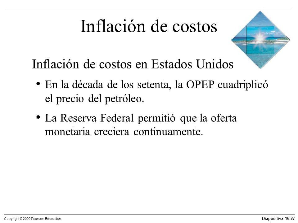 Diapositiva 16-27 Copyright © 2000 Pearson Educación. Inflación de costos Inflación de costos en Estados Unidos En la década de los setenta, la OPEP c